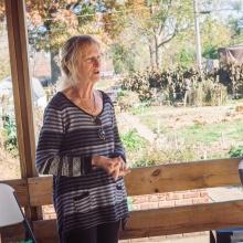 Patti giving presentation on the garden deck